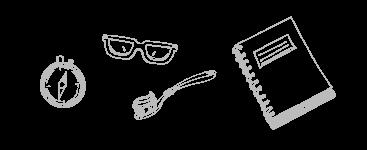 Skizze Kompass Brille Zahnbürste Buch