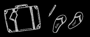 Skizze Koffer Bleistift Flip Flops