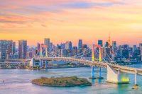 Sprachreise nach Japan für Erwachsene - Rainbow Bridge bei Sonnenuntergang